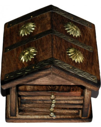 Wooden Coaster set of 6, Hut shape