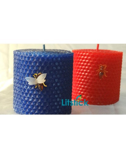 Pillar 3 inch Bees Wax Candle in wooden box