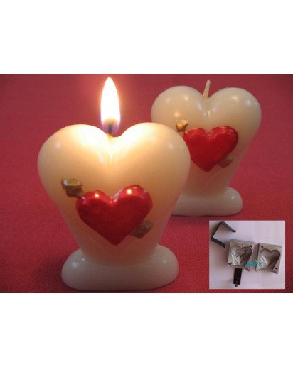 Iron Candle Mold, Heart with arrow design