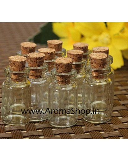 1ml cute clean glass bottles with cork, set of 10