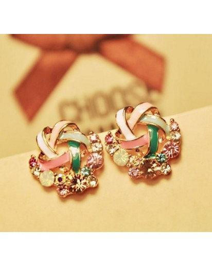 Rhinestone Stud Earrings, Modern design