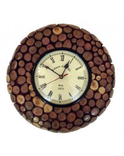 "Wall clock, Wooden block 16"" design"