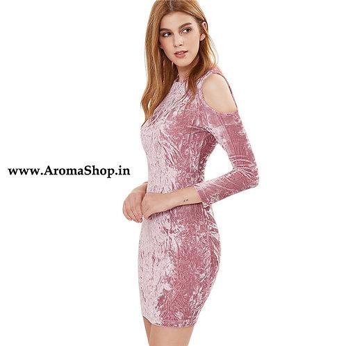 Party Night Pink Cold Shoulder Crushed Velvet Dress