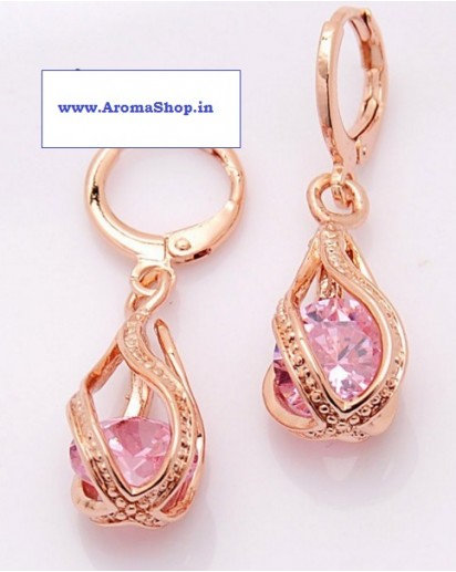 Rose gold plated Dangle Earrings, Modern design