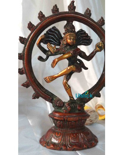 Natraj Statue, Heavy Brass Antique Finish