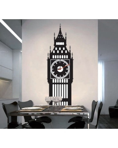 10x30inch, Tower Wall Decal Clock
