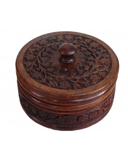 WOODEN ROUND JEWELRY BOX, CHAPATI BOX