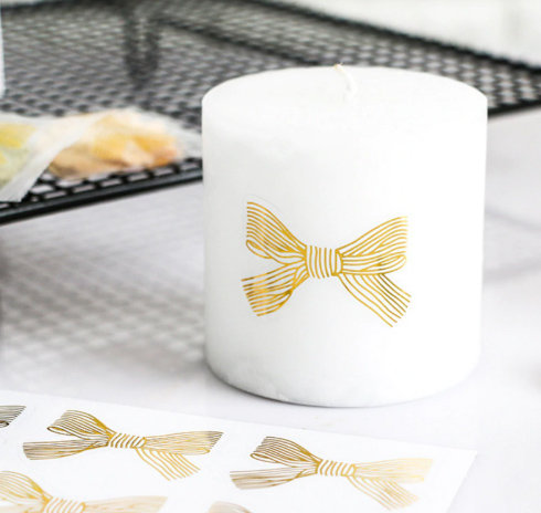 Golden bow PVC label for Soap- 60 Pcs, Candle, Gift packing