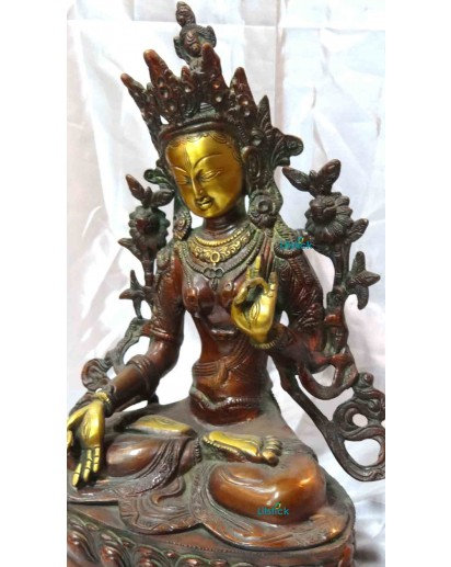 Tara Devi, 1ft. tall Solid brass Antique finish Statue