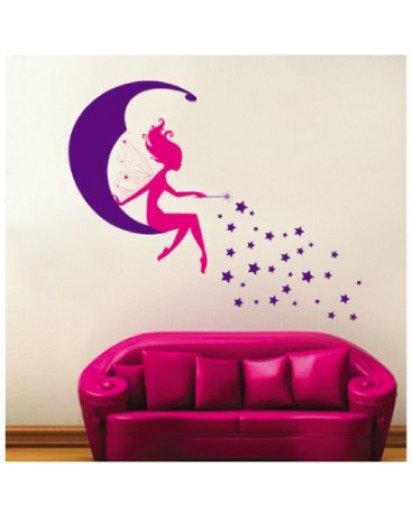 50x70cm, Pink Fairy Wall Decal Sticker