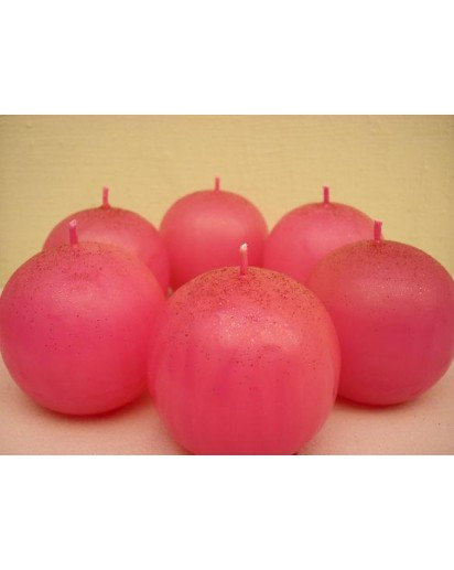 Set of 6 Glittering Ball candles, 2 inch