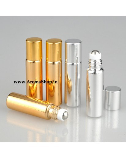 Set of 5 Roll on bottles, Metallic 5ml capacity
