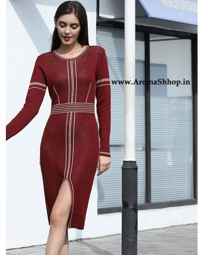 Split Knitting Long Sleeve O-Neck Knee-Length Slim Vintage Dress