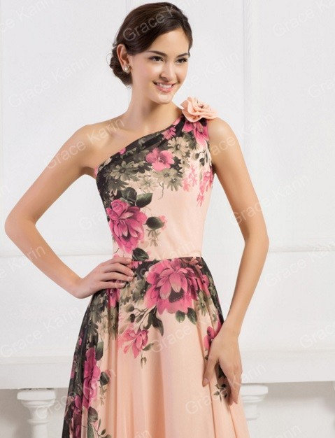 Evening Dress,Flower Pattern Chiffon Women Formal Gown