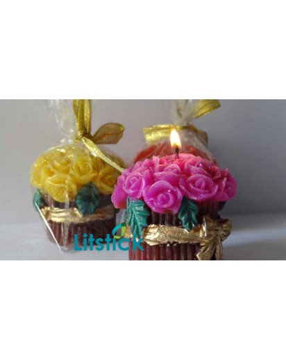 Flower Bouquet Candle with golden Ribbon