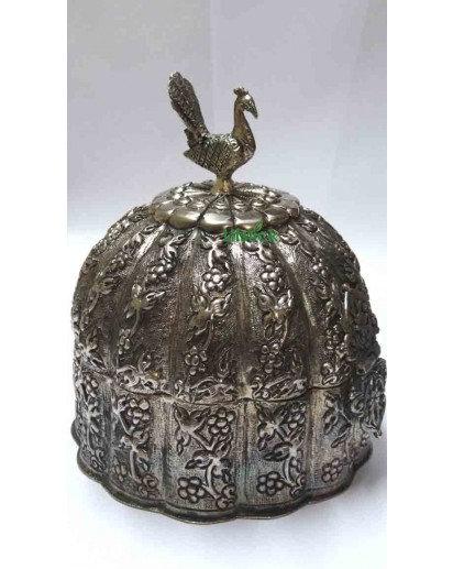 Metallic Jewellery box, silver finish- Peacock design