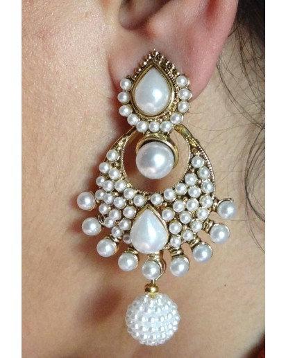 Jhumki Pearl Big Ear Rings, Ethnic design