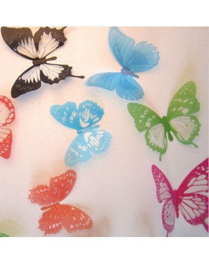 Wall sticker, Set of 12 Butterfly, Multicolor decal
