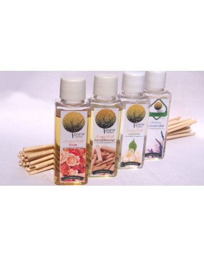 Reed Diffuser Refill 50ml. bottles, set of 4 with 24 Sticks RSJL