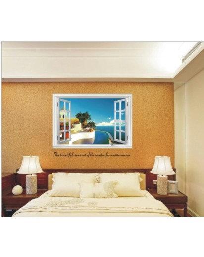 60x90cm, Sea side window Wall sticker