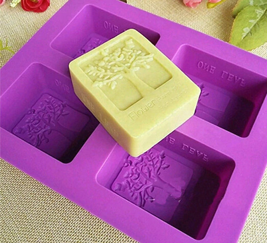 Tree Soap mold tray of 4, silicon soap mold 100gm
