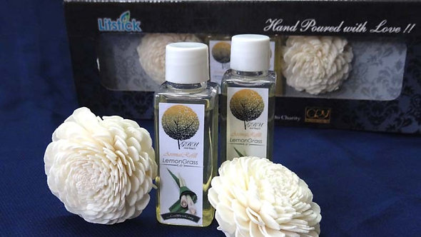 2 Sola Diffuser with 2 Bottles of Lemongrass oil 50ml. each