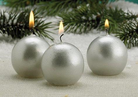Metallic Set of 6 Ball candles, 2 inch