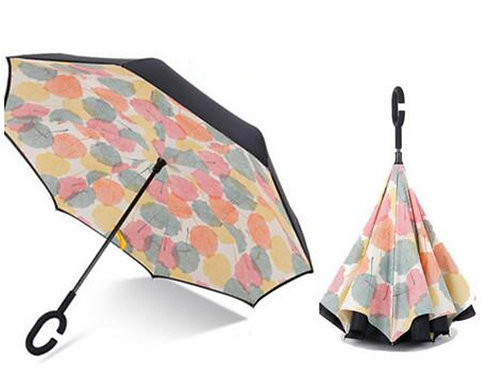 Windproof Reverse Folding Double Layer Inverted Umbrella Self Stand rain/sun wom