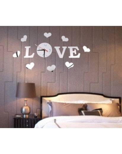 LOVE Sticker Clock, Mirror Trendy Wall Clock