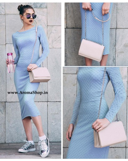 Long Sleeve Knee Length Women Dress,O-Neck Fitness