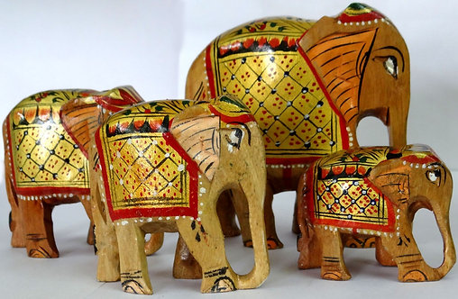 Wooden Elephant set of 4, Hand painted decorative set