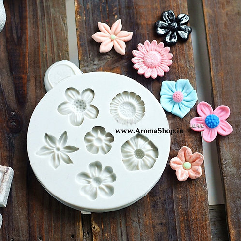 3D Sunflower Rose Flowers Silicone Cake Border Decoration Mold Polymer Clay