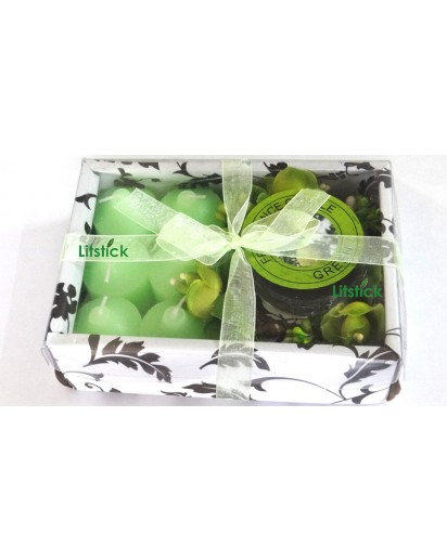 Glass Votive bouquet set with 6 votive candles, gift pack
