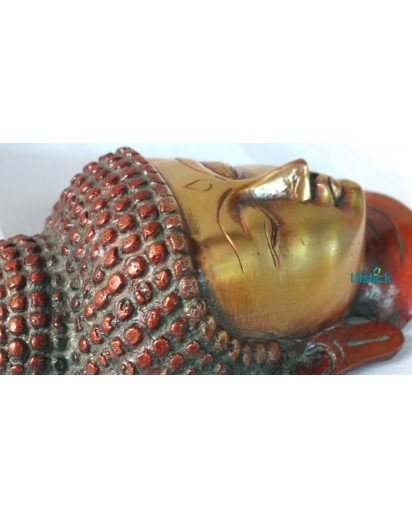 Buddha Face, Heavy Brass Antique Finish