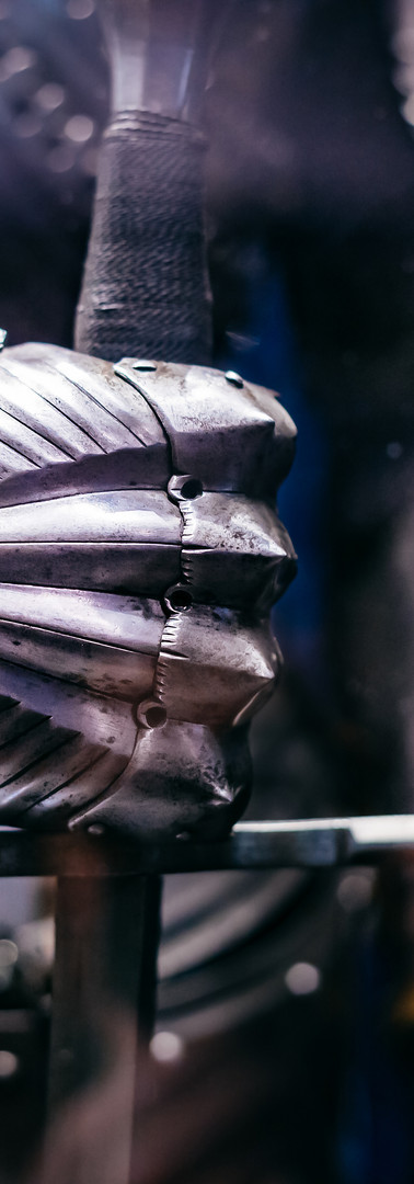 Close up of a Medieval steel armour with