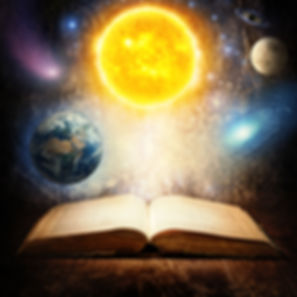 Opened magic book with sun, earth, moon,