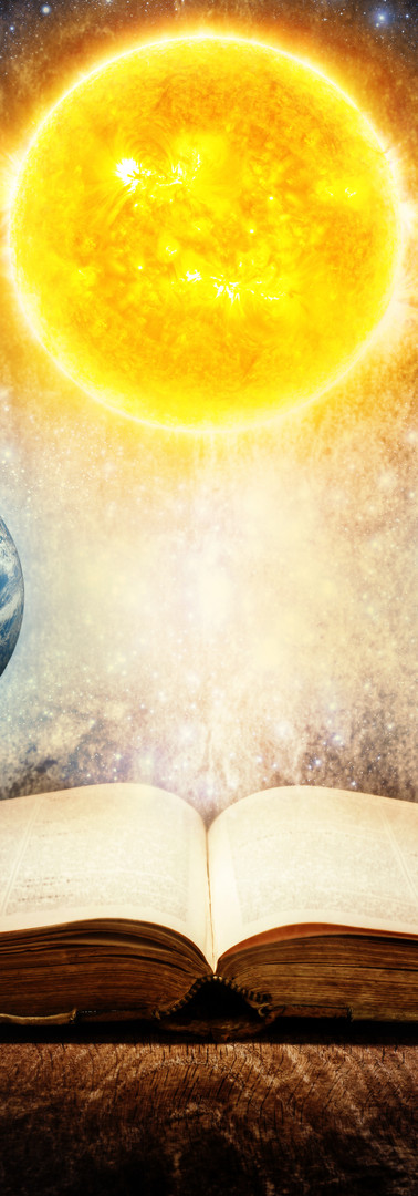 Opened magic book with sun, earth, moon,