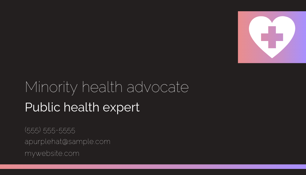 Health Consultant Business Card - Back