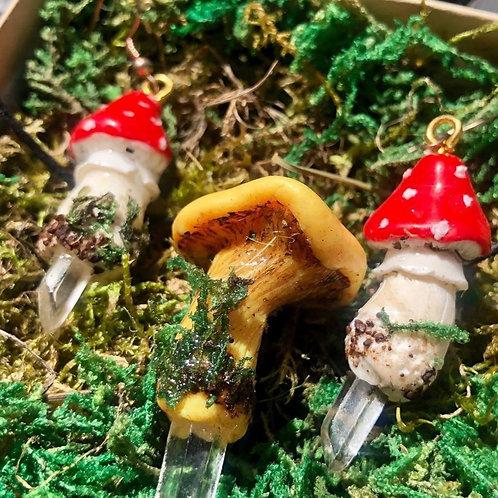 Mushroom and Clear Quartz Jewelry