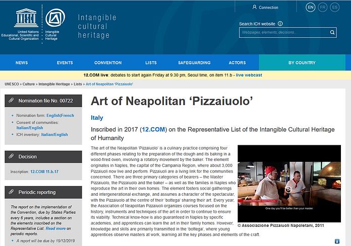 Unesco Art of Neapolitan Pizzaiuolo