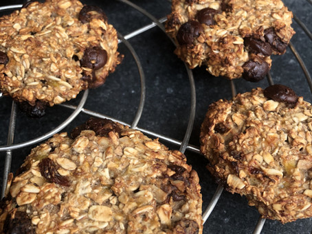 Banaan havermout koekjes met chocolade