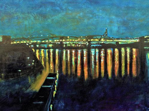 Night Bridge in the City