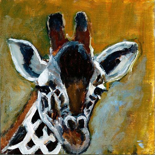 sweet giraffe animal pal print - 4 x 4 inches