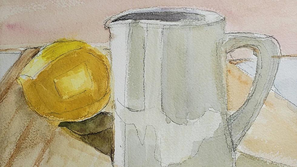 Watercolor pitcher - Block 3 Art demo - 11-5-20
