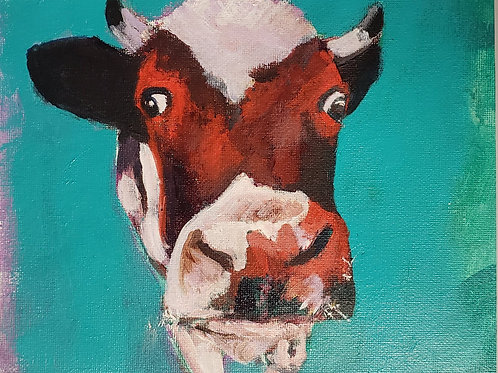 Cow in turquoise and red