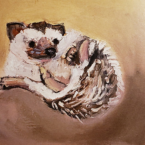Happy hedgehog animal pal print - 4x4 inches
