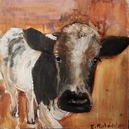 Abstract brown cow animal pal print 4x4inches