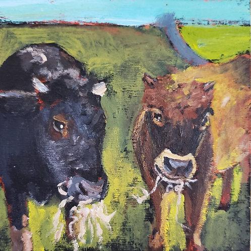 Cud-chewing companions animal pal original painting