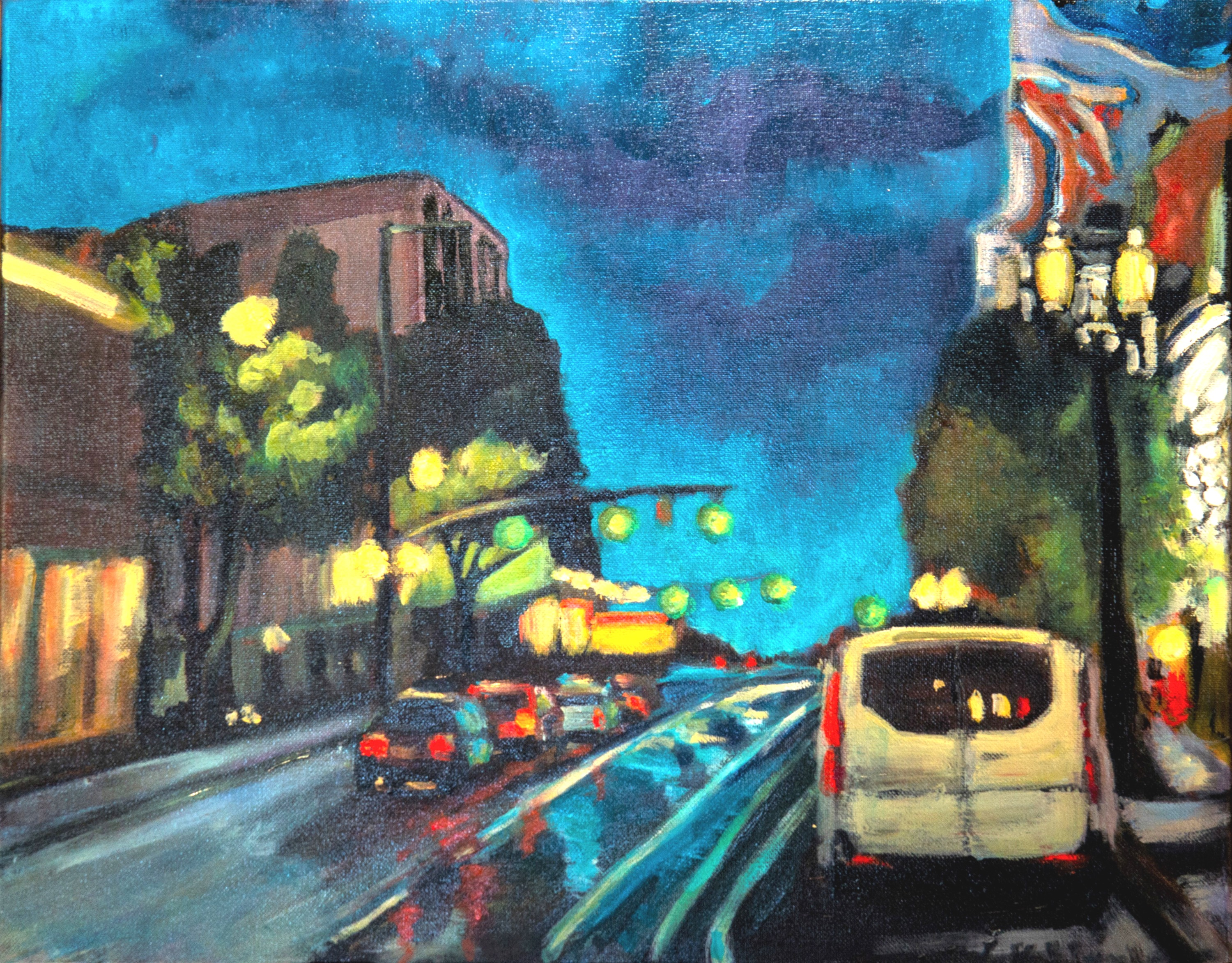 "Rainy Night Stroll - 16x20"" - $320"