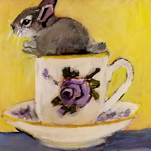 Bunny in a teacup animal pal print 4x4inches